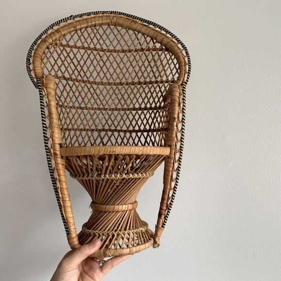Vintage Mini Whicker Peacock Chair Plant Stand